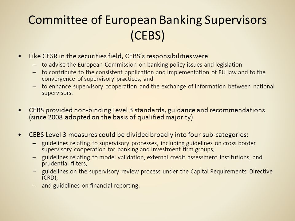 Committee of European Banking Supervisors (CEBS)