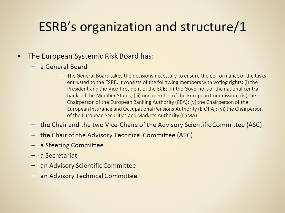 ESRB's organization and structure/1