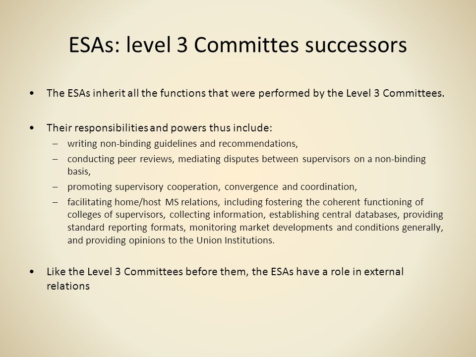 ESAs: level 3 Committes successors