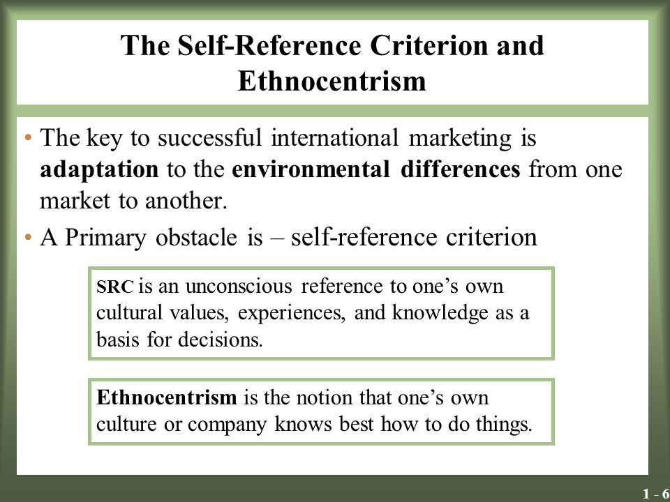 The Self-Reference Criterion and Ethnocentrism