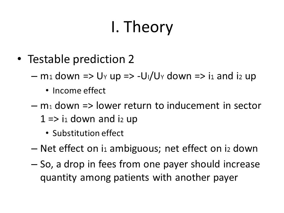 I. Theory Testable prediction 2