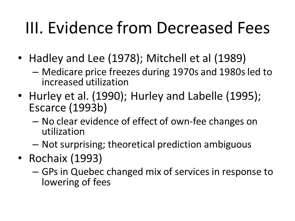 III. Evidence from Decreased Fees