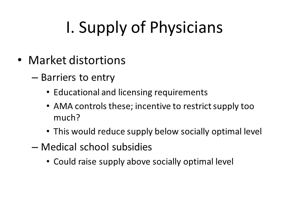 I. Supply of Physicians Market distortions Barriers to entry