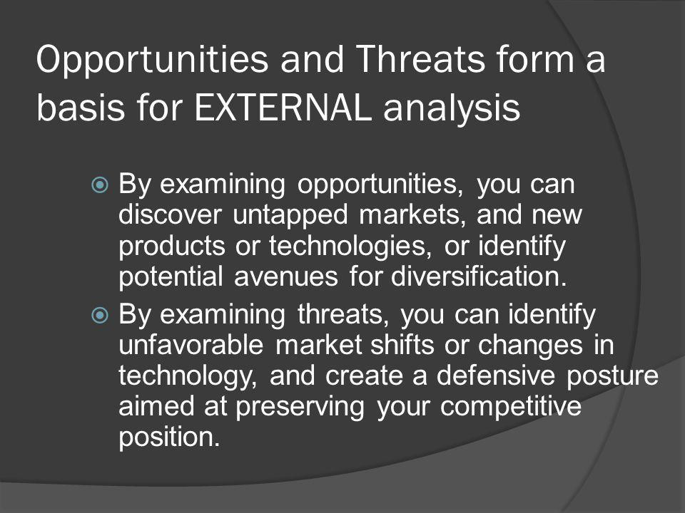 Opportunities and Threats form a basis for EXTERNAL analysis
