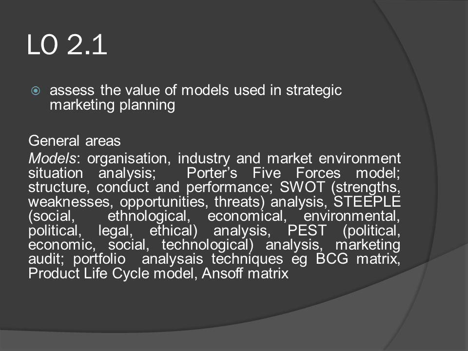 LO 2.1 assess the value of models used in strategic marketing planning