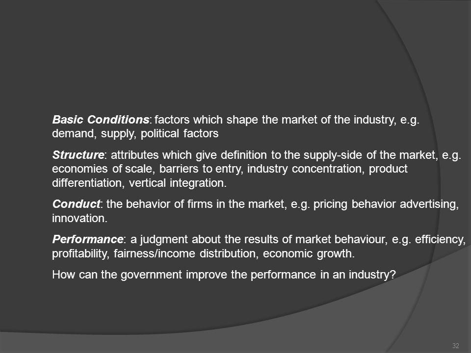 Basic Conditions: factors which shape the market of the industry, e. g