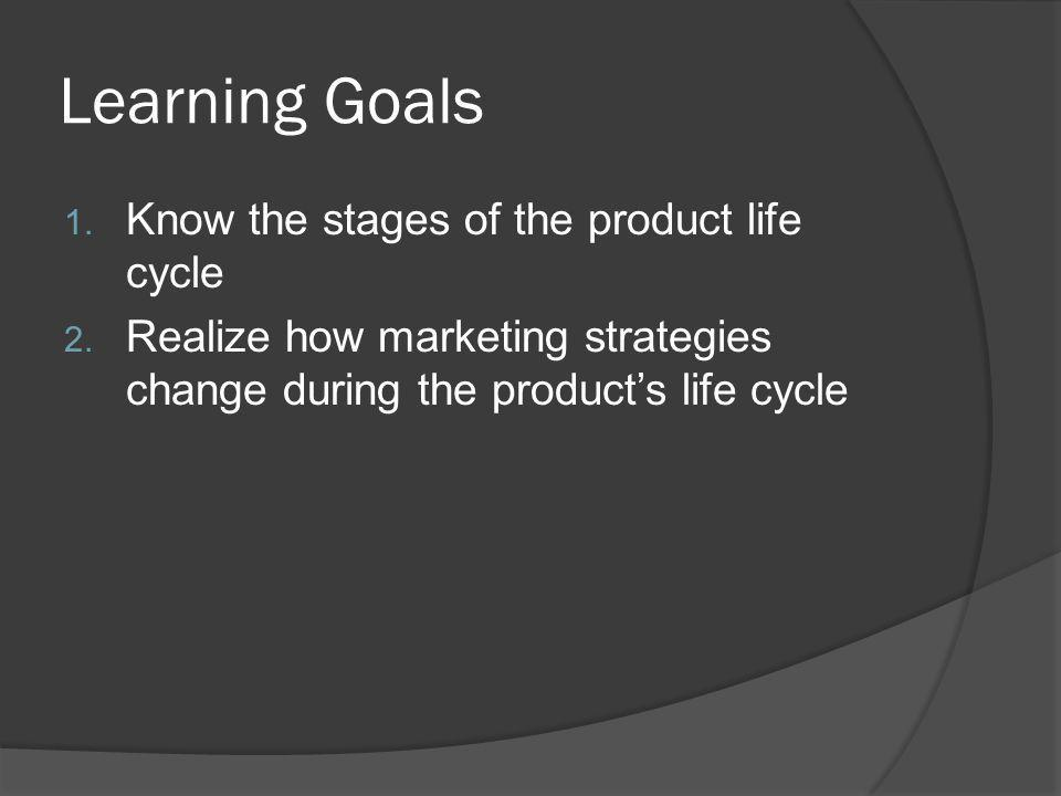 Learning Goals Know the stages of the product life cycle