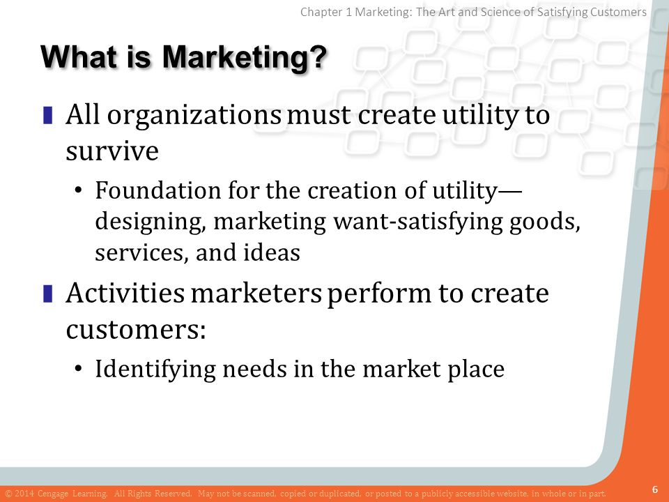 What is Marketing All organizations must create utility to survive