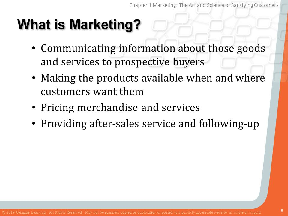 What is Marketing Communicating information about those goods and services to prospective buyers.