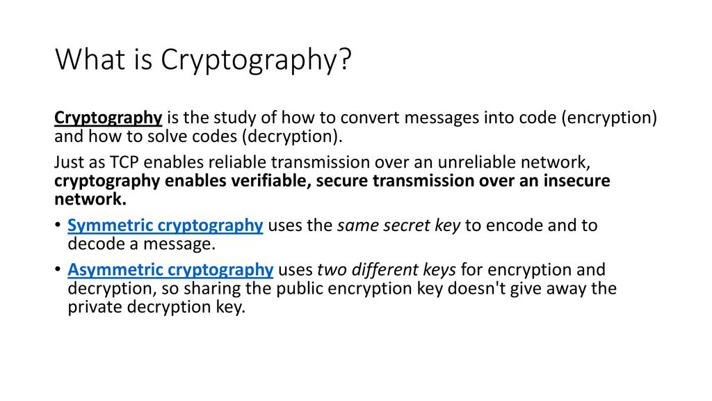 Ch 7A Cryptography  - ppt download
