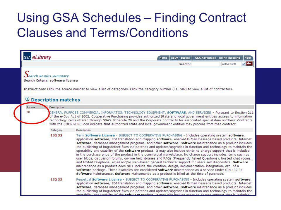 Using GSA Schedules – Finding Contract Clauses and Terms/Conditions
