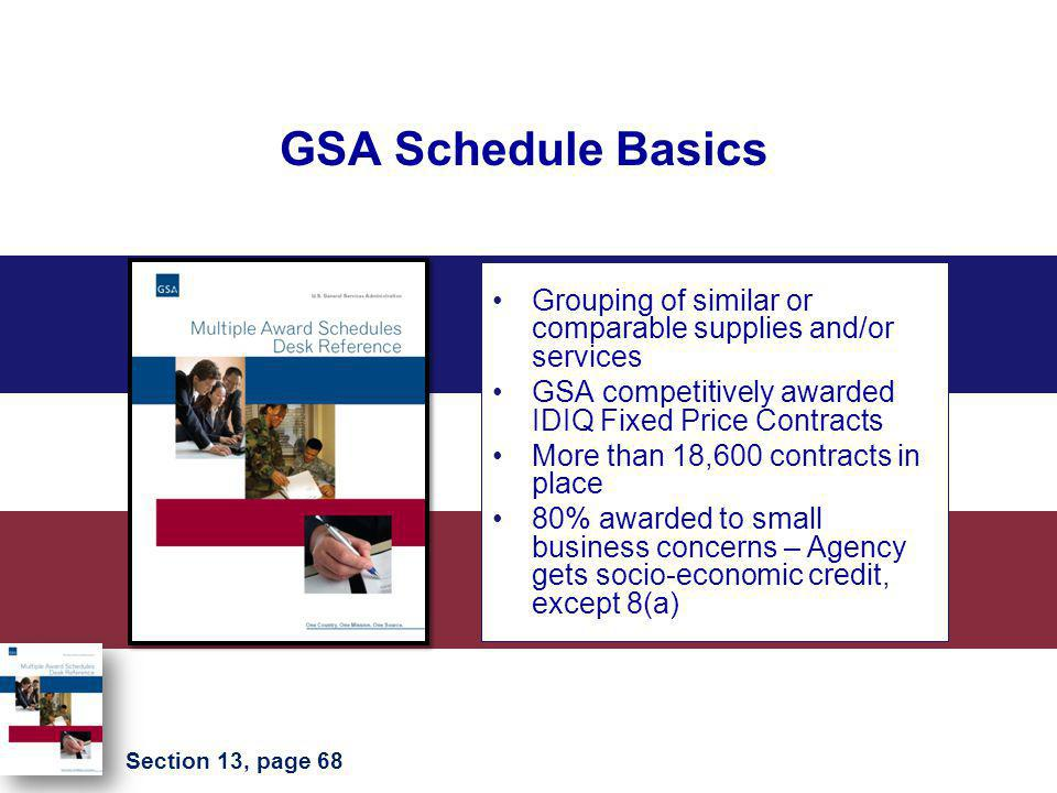 GSA Schedule Basics Grouping of similar or comparable supplies and/or services. GSA competitively awarded IDIQ Fixed Price Contracts.