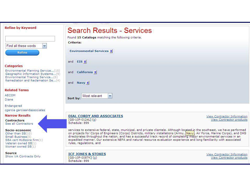 To view all of the contractor's which meet our search criteria – we can select all contractors from refine categories options on the left side of screen, and review each contractor listing – or we could move to eBuy with a RFI request for more detailed information on our specific project and request that the vendors provide us with detailed information of their work on similar type projects.