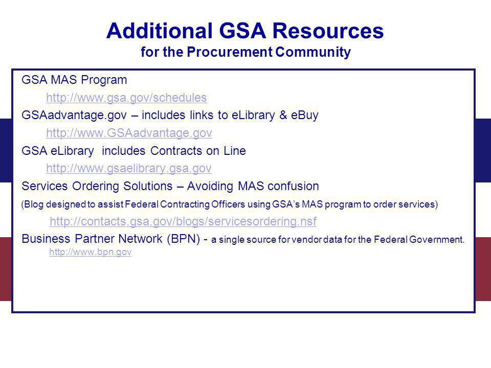 Additional GSA Resources for the Procurement Community