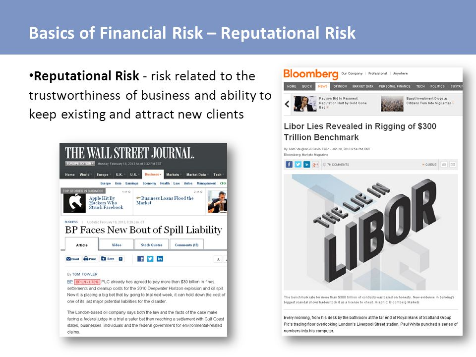 Basics of Financial Risk – Reputational Risk