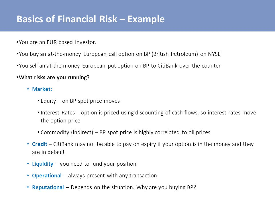 Basics of Financial Risk – Example