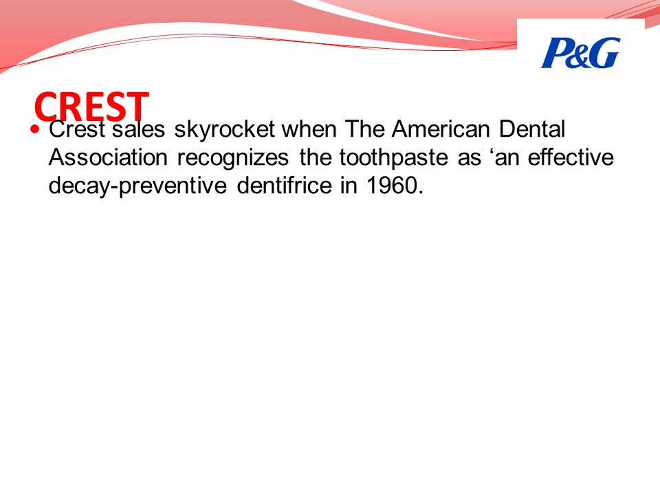 CREST Crest sales skyrocket when The American Dental Association recognizes the toothpaste as 'an effective decay-preventive dentifrice in 1960.