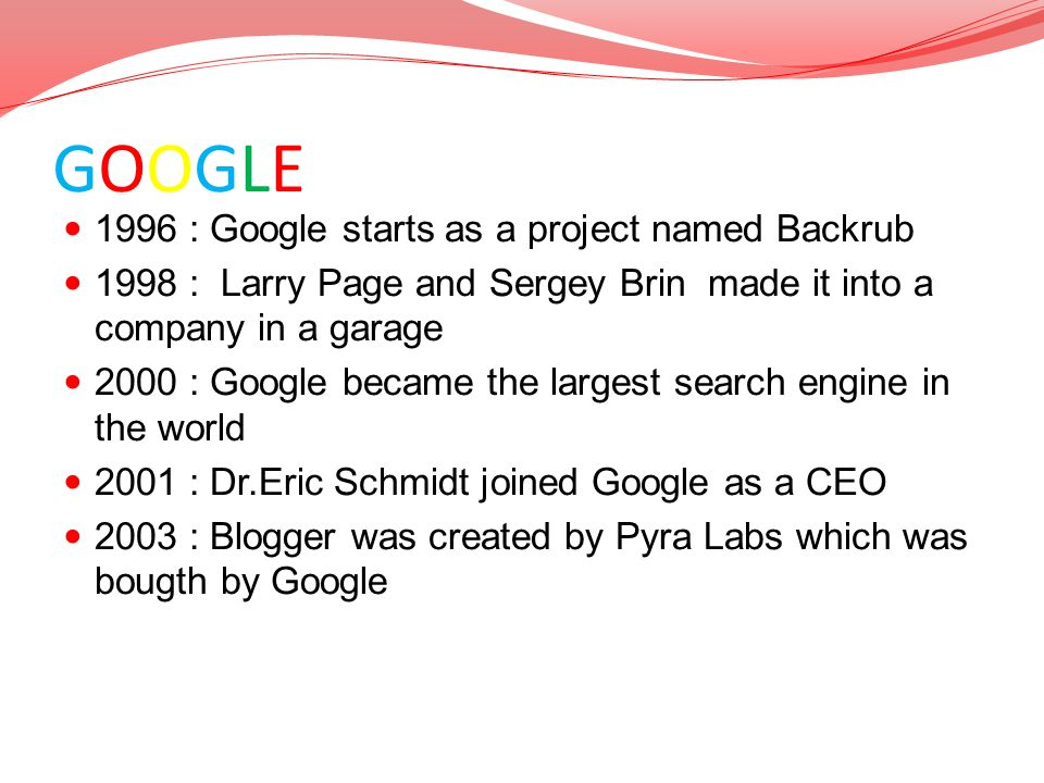 GOOGLE TIMELINE 1996 : Google starts as a project named Backrub