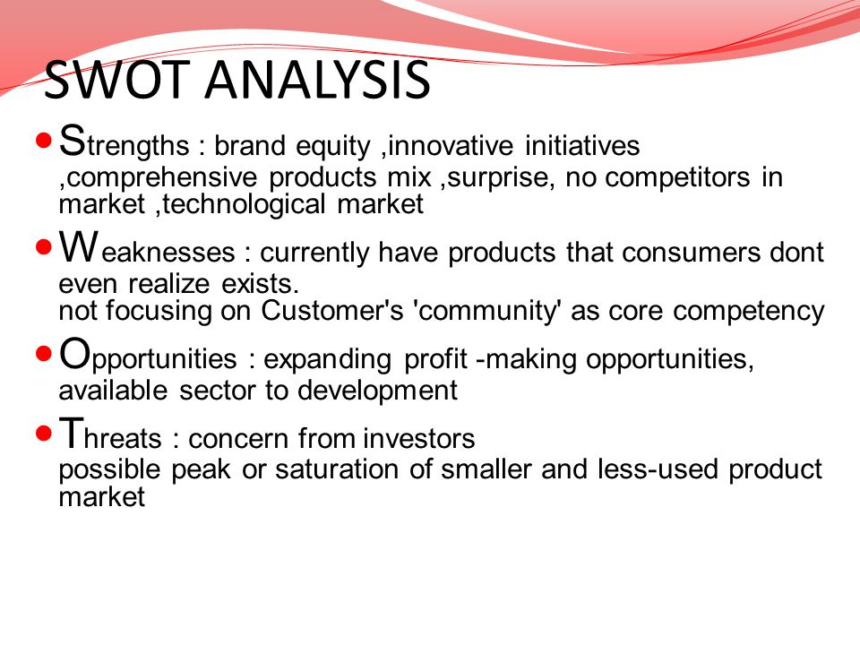 SWOT ANALYSIS Strengths : brand equity ,innovative initiatives ,comprehensive products mix ,surprise, no competitors in market ,technological market.