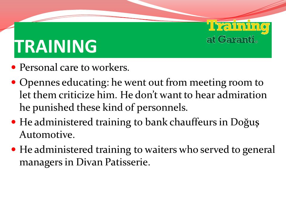 TRAINING Personal care to workers.