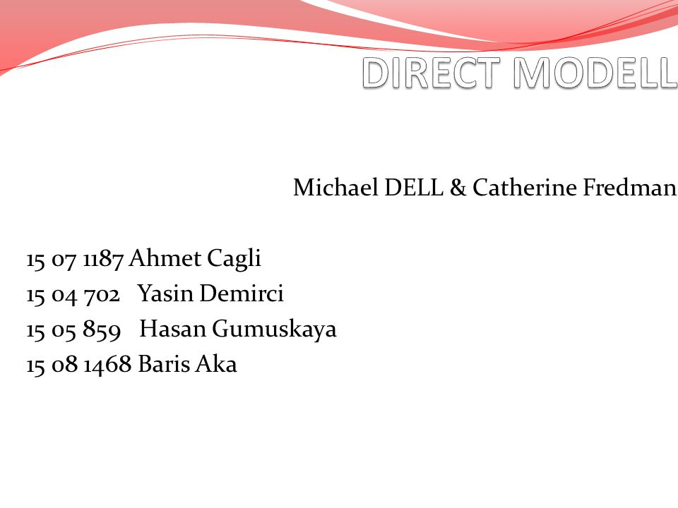 DIRECT MODELL Michael DELL & Catherine Fredman 15 07 1187 Ahmet Cagli