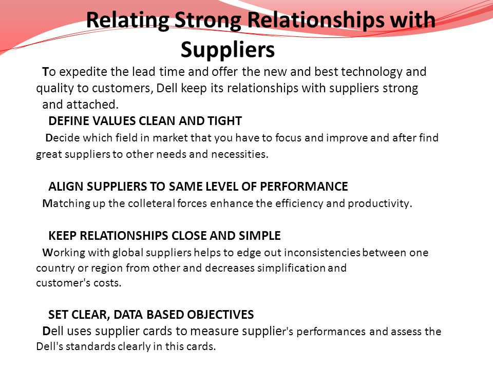 Suppliers Relating Strong Relationships with