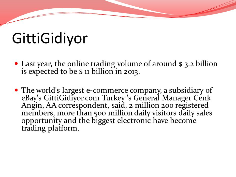 GittiGidiyor Last year, the online trading volume of around $ 3.2 billion is expected to be $ 11 billion in 2013.