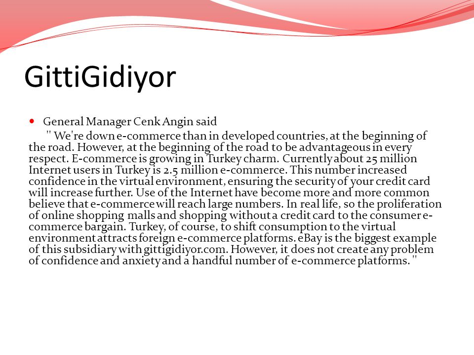 GittiGidiyor General Manager Cenk Angin said