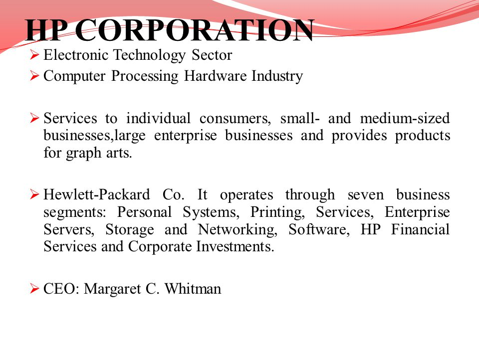 HP CORPORATION Electronic Technology Sector