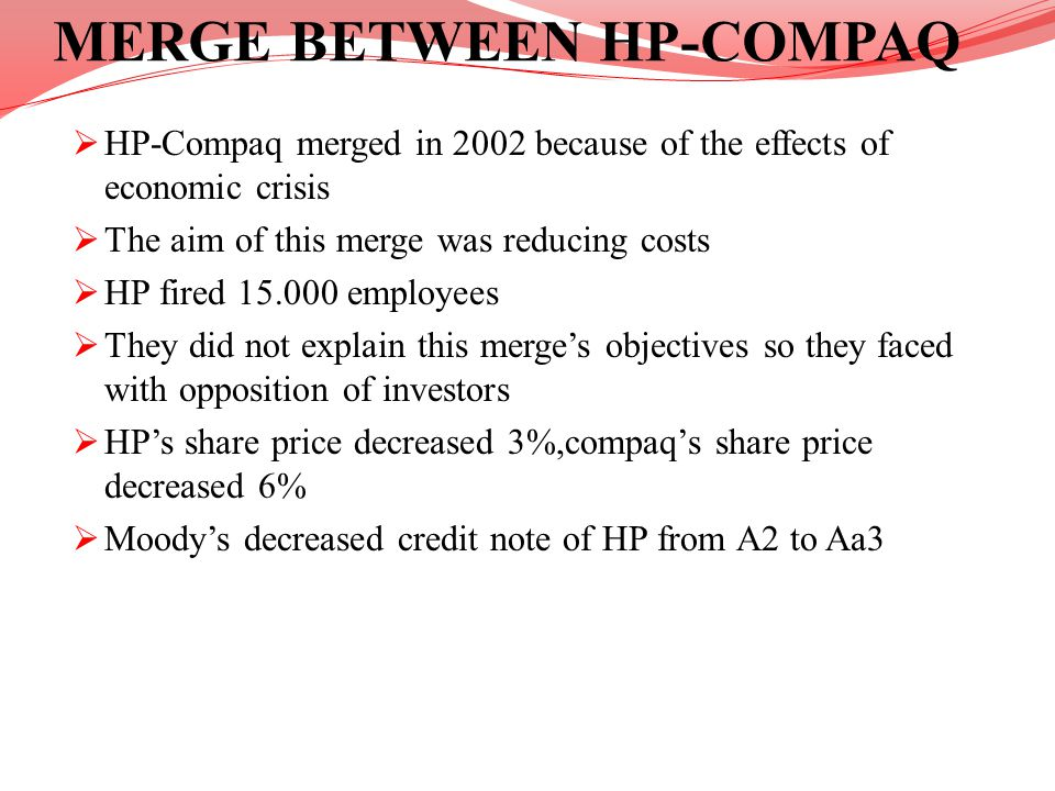 MERGE BETWEEN HP-COMPAQ