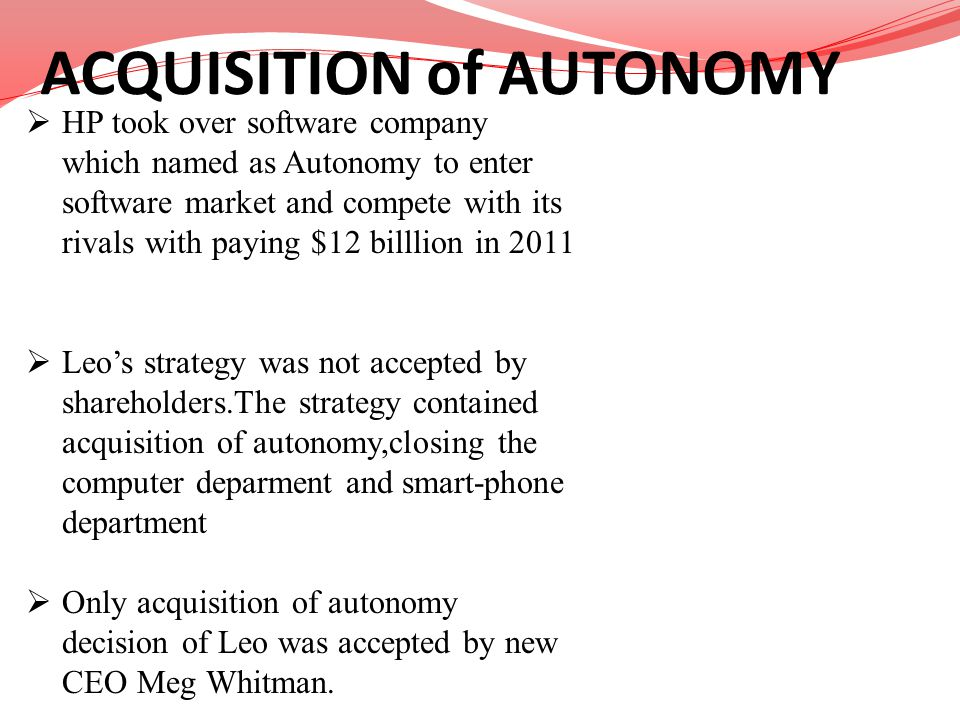 ACQUISITION of AUTONOMY
