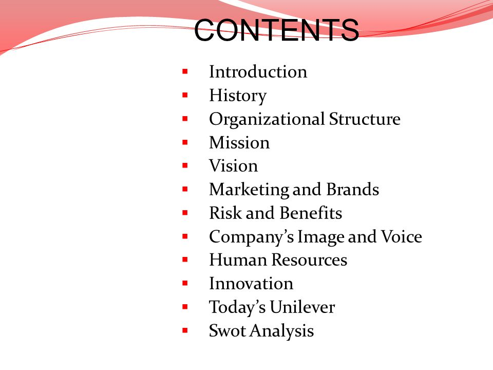 CONTENTS Introduction History Organizational Structure Mission Vision