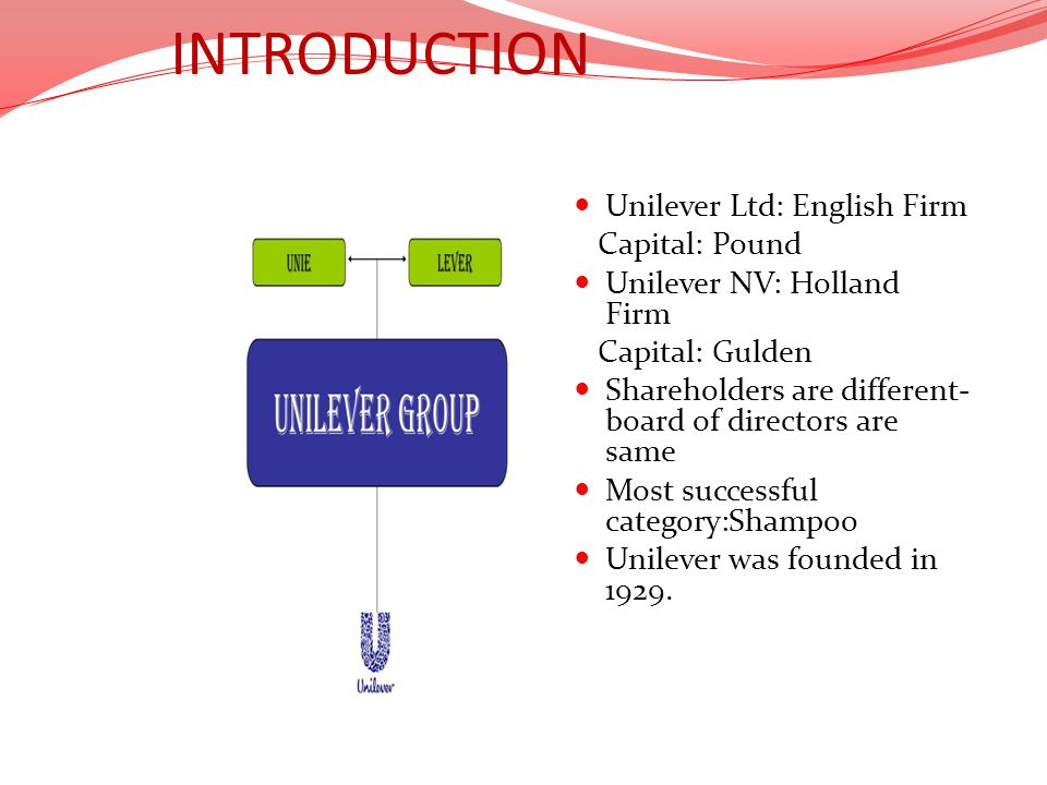 INTRODUCTION Unilever Ltd: English Firm Capital: Pound