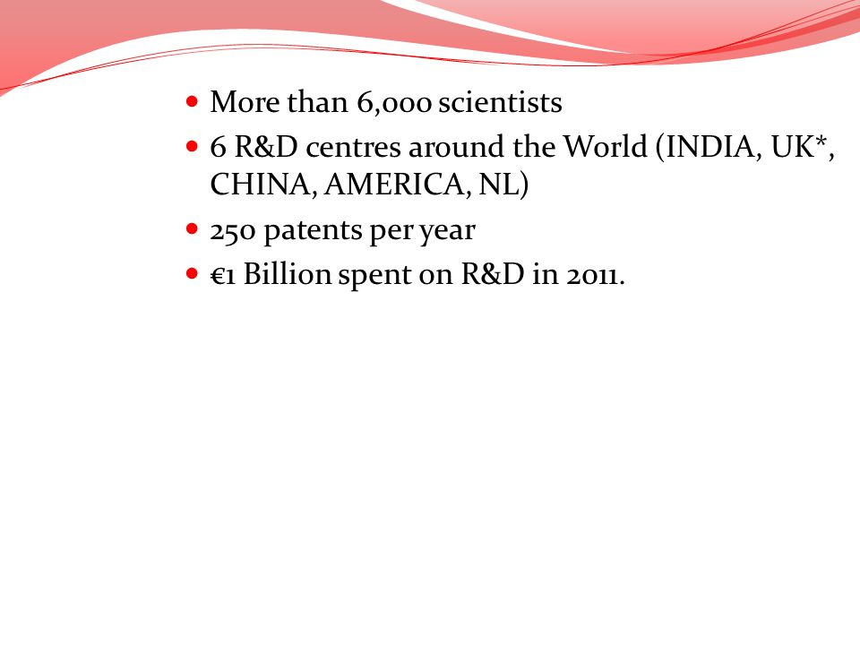 6 R&D centres around the World (INDIA, UK*, CHINA, AMERICA, NL)