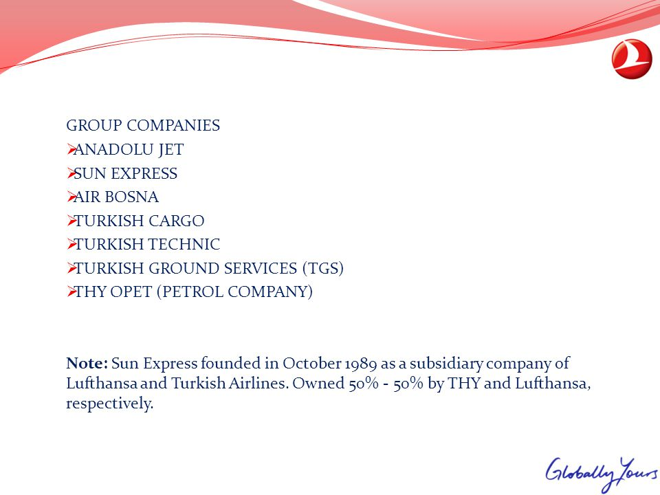 GROUP COMPANIES ANADOLU JET. SUN EXPRESS. AIR BOSNA. TURKISH CARGO. TURKISH TECHNIC. TURKISH GROUND SERVICES (TGS)