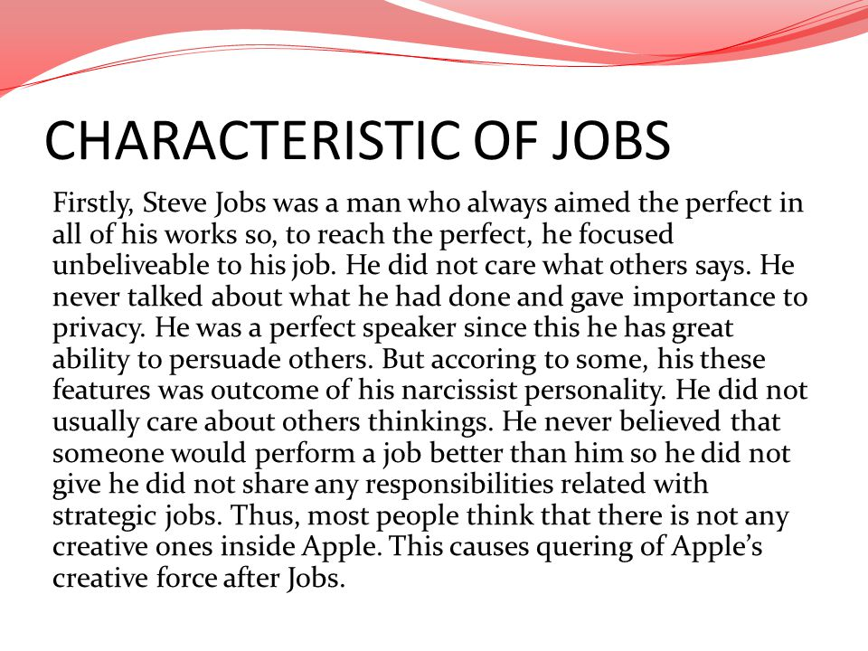 CHARACTERISTIC OF JOBS