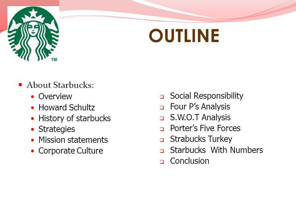 OUTLINE About Starbucks: Overview Social Responsibility Howard Schultz