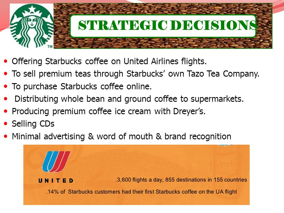 STRATEGIC DECISIONS Offering Starbucks coffee on United Airlines flights. To sell premium teas through Starbucks' own Tazo Tea Company.