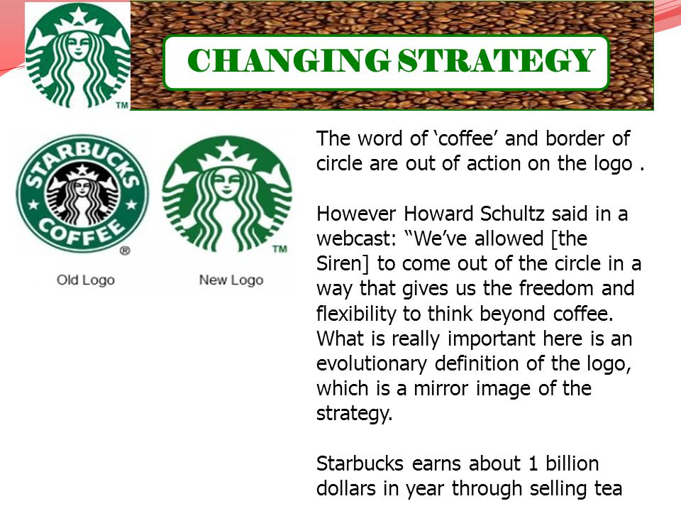 CHANGING STRATEGY The word of 'coffee' and border of circle are out of action on the logo .