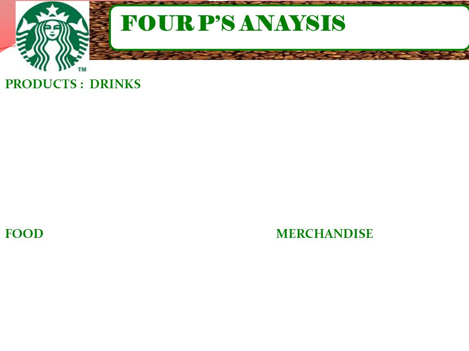 FOUR P'S ANAYSIS PRODUCTS : DRINKS.