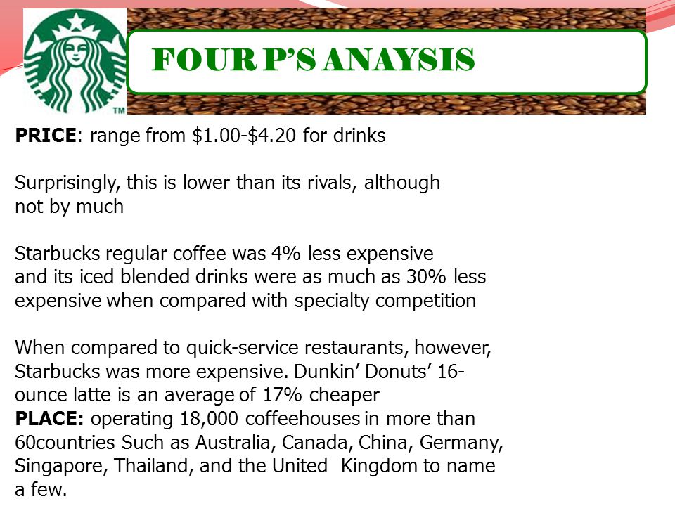 FOUR P'S ANAYSIS PRICE: range from $1.00-$4.20 for drinks