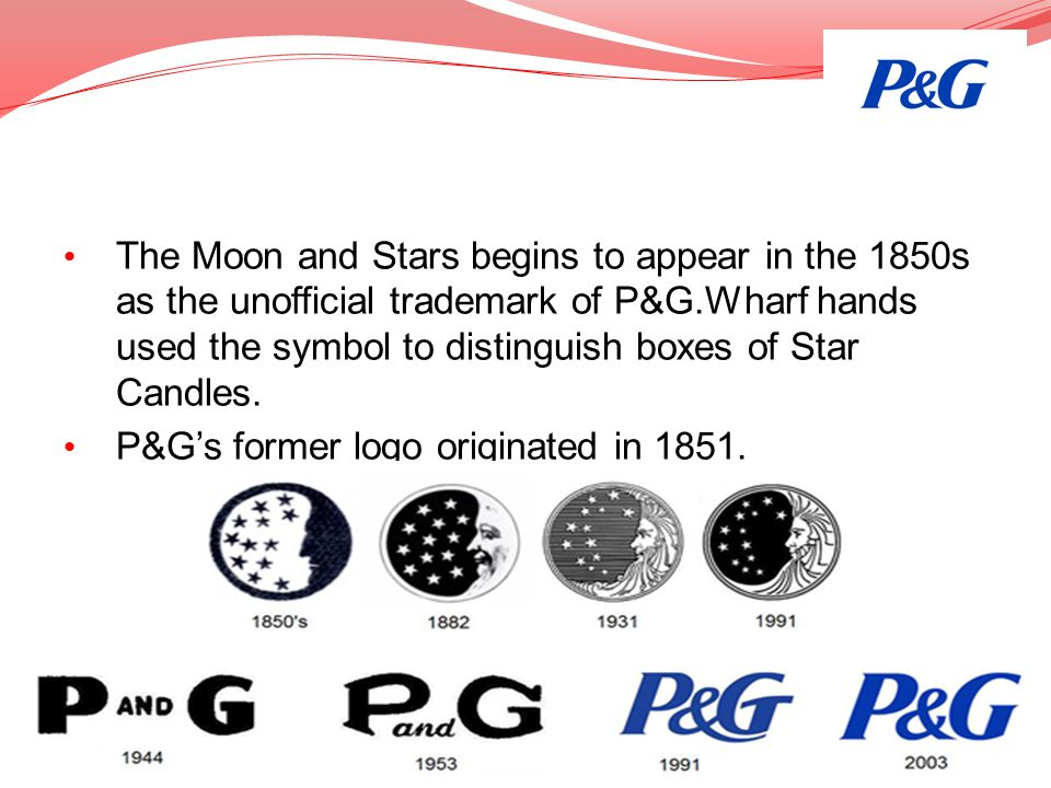 The Moon and Stars begins to appear in the 1850s as the unofficial trademark of P&G.Wharf hands used the symbol to distinguish boxes of Star Candles.