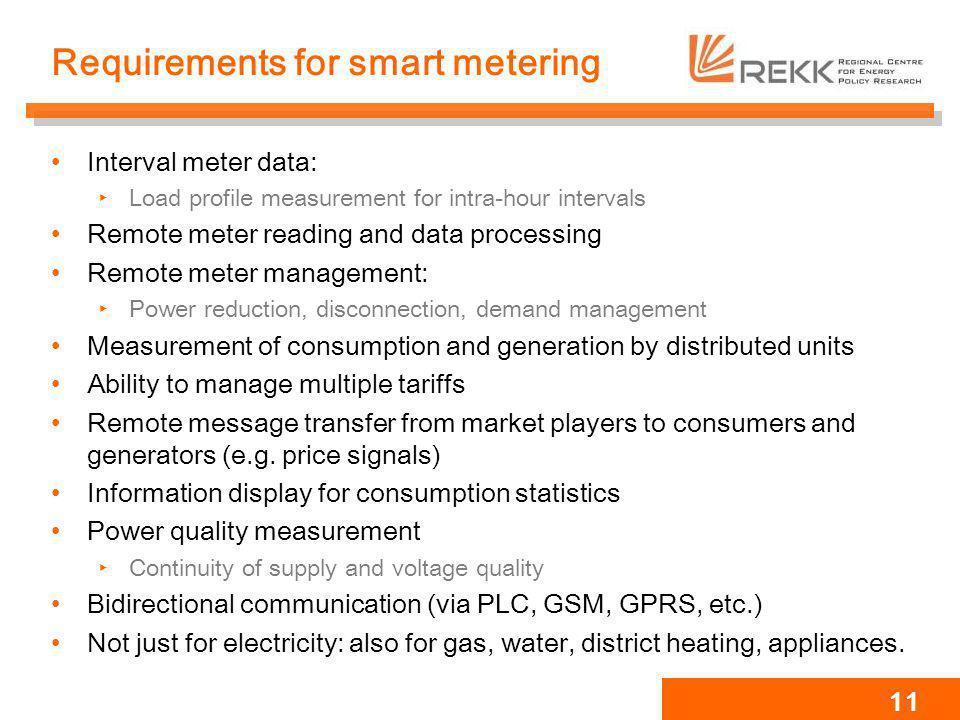Requirements for smart metering