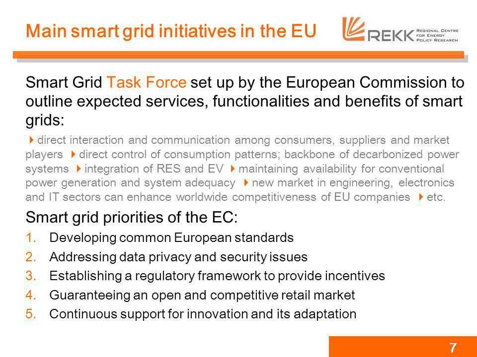 Main smart grid initiatives in the EU