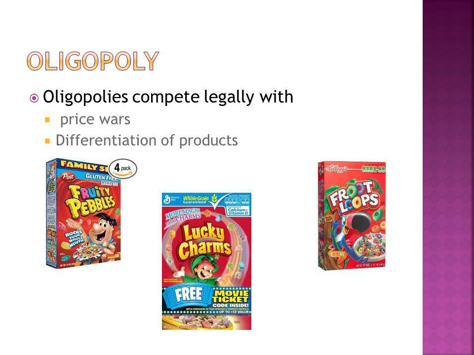 Oligopoly Oligopolies compete legally with price wars