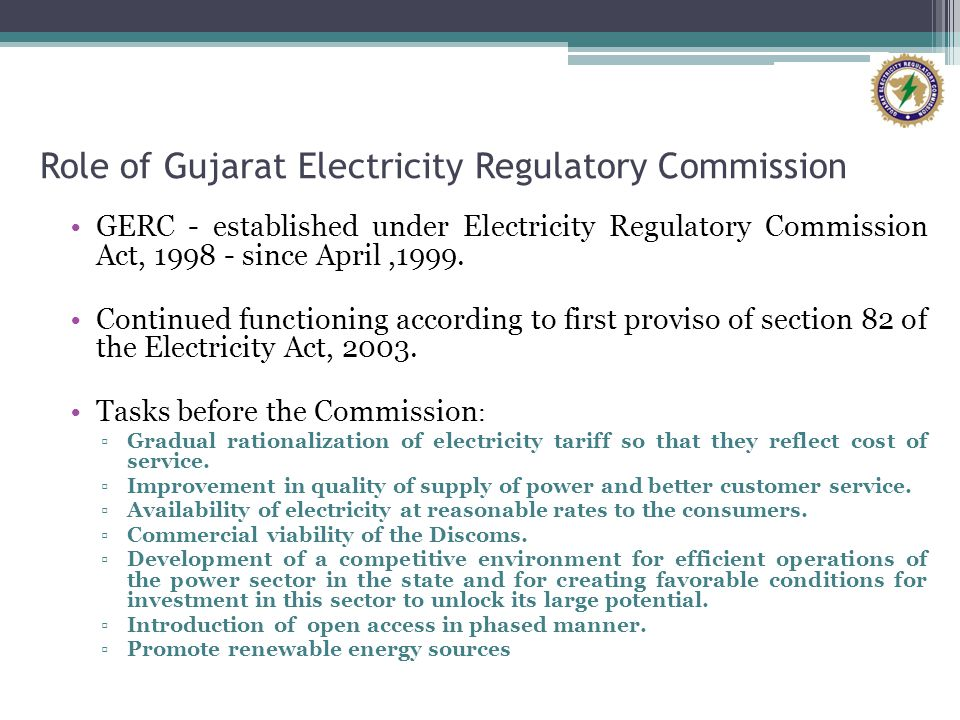 Role of Gujarat Electricity Regulatory Commission