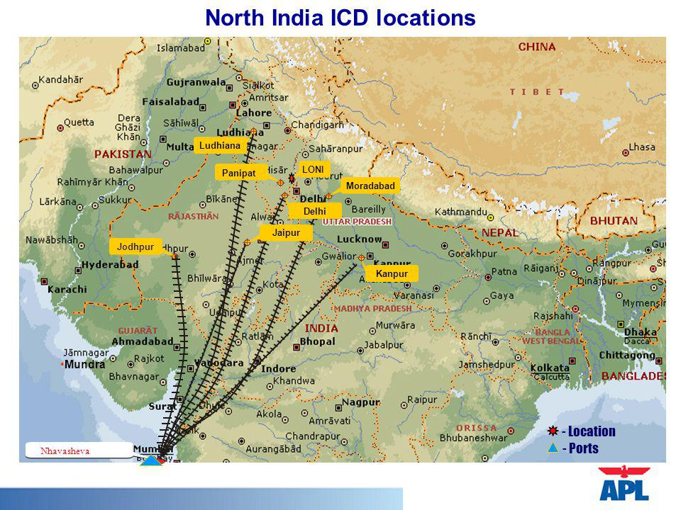 North India ICD locations