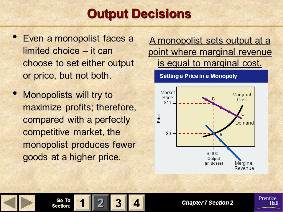Output Decisions Even a monopolist faces a limited choice – it can choose to set either output or price, but not both.