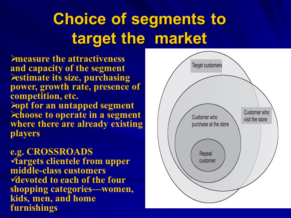 Choice of segments to target the market