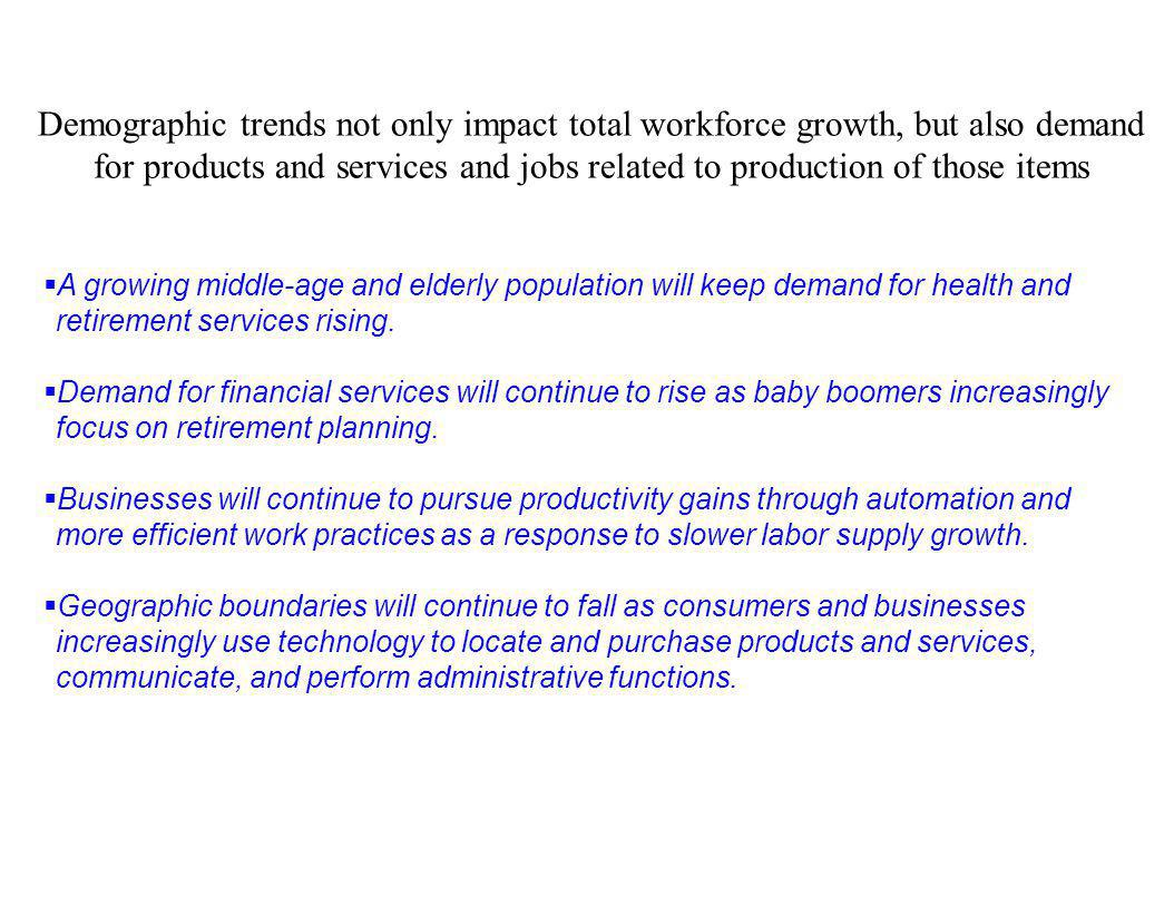 Demographic trends not only impact total workforce growth, but also demand for products and services and jobs related to production of those items